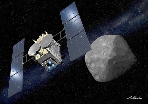 小惑星りゅうぐうに近づく「はやぶさ2」のイメージ(池下章裕さん提供)