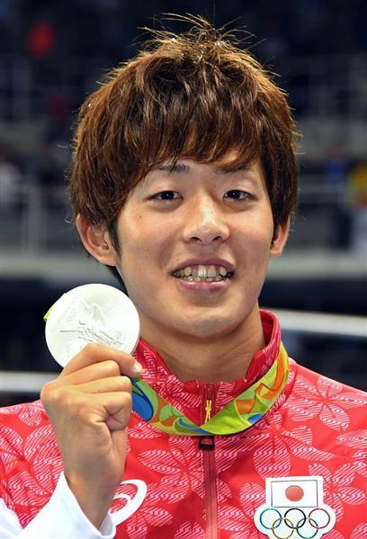 リオデジャネイロ五輪の競泳男子200メートルバタフライで銀メダルを獲得した坂井聖人=2016年8月9日(川口良介撮影)