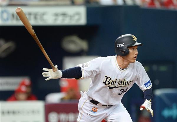 4回、右中間に適時二塁打を放つオリックス・吉田正尚=14日、京セラドーム大阪(岩川晋也撮影)