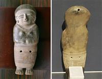 エクアドルの「人物象形土偶」。背面(右)の後頭部に穴が開いている(BIZEN中南米美術館提供)