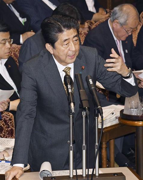 18日の参院決算委で答弁する安倍晋三首相