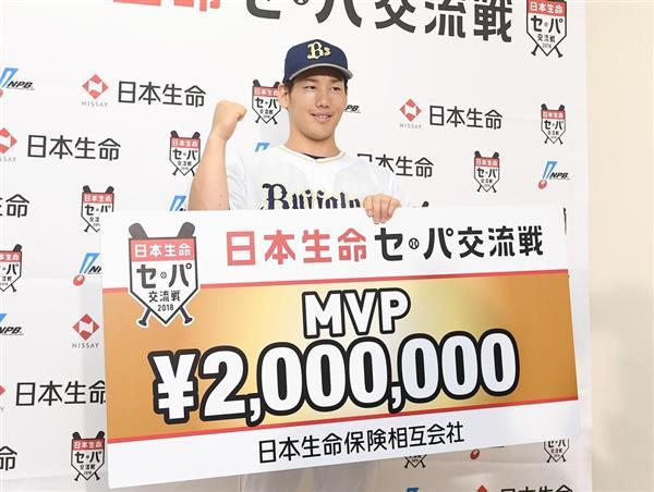 交流戦MVPを受賞した吉田正尚=22日、ほっともっとフィールド神戸(岩川晋也撮影)