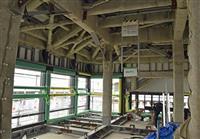 熊本城大天守の内部公開 床むき出し、耐震工事進む