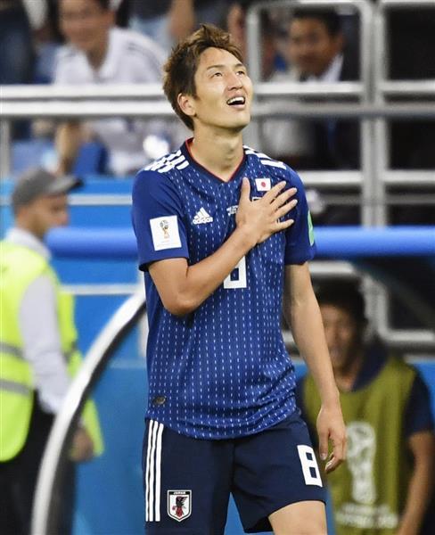 日本-ベルギー 後半、先制ゴールを決め笑顔の原口=ロストフナドヌー(共同)