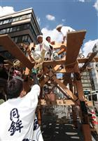 【動画】祇園祭、街中で鉾建て始まる 巡行まで1週間、夏空に作業の槌音
