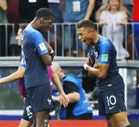 【ロシアW杯】決勝速報(7)フランスが4点目、エムバペがミドルシュート