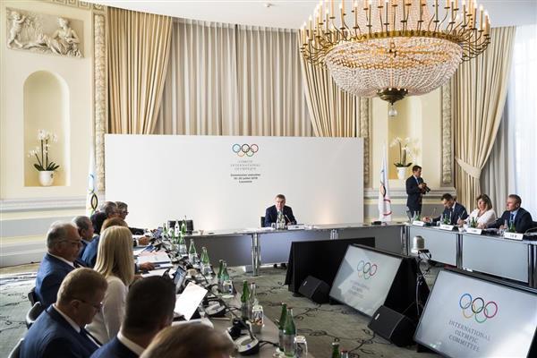 18日、スイスのローザンヌで開かれた国際オリンピック委員会(IOC)の理事会(AP)