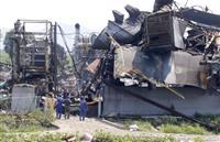 岡山の工場爆発で現場検証、浸水で水蒸気爆発か