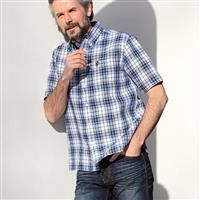 麻100% 洗いざらしで着られる涼しいチェック柄シャツ