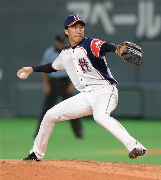九回、日本ハムの5番手で登板する浦野博司=28日、札幌ドーム(野口隆史撮影)