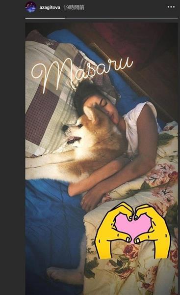 ザギトワ選手がインスタグラムに投稿した、秋田犬のマサルと昼寝する