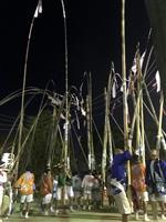 20メートル余の竹抱える「天下の奇祭」…下関で数方庭祭
