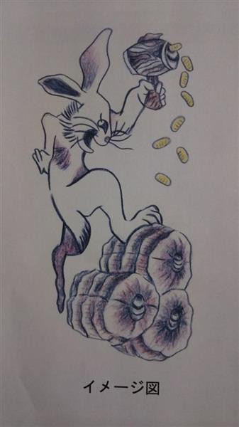 樋田淳也容疑者の入れ墨のイメージ図(容疑者の写真をもとに、府警の捜査員が描いた)