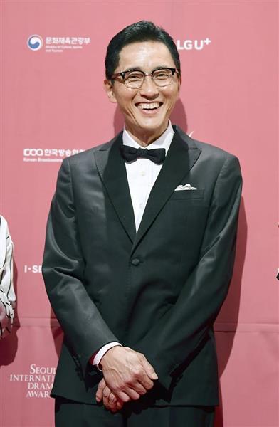 ソウルドラマアワーズの授賞式を前に、笑顔を見せるテレビドラマ「孤独のグルメ」に出演する俳優の松重豊さん=3日、ソウル(共同)