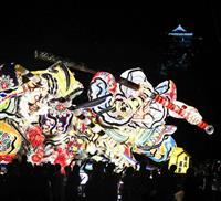 熊本城でラッセラー 青森ねぶた、二の丸広場練り歩く