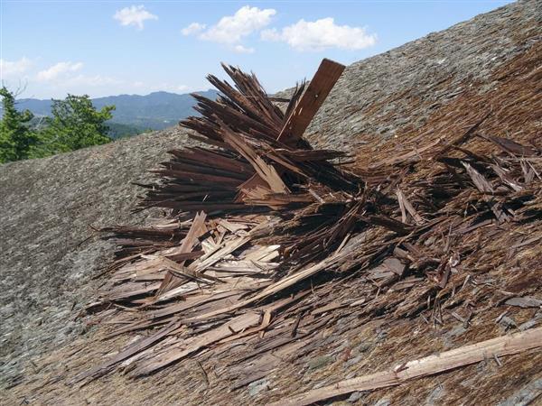 台風による被害が見つかった金峯山寺本堂の檜皮ぶき屋根=5日(奈良県教育委提供)