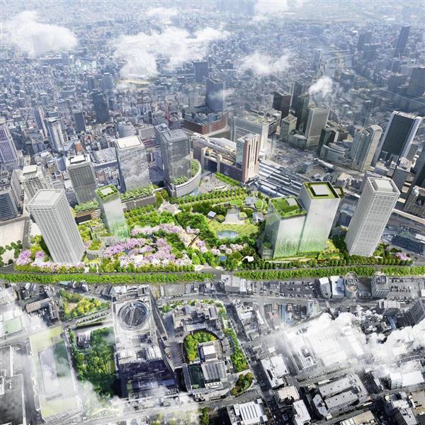 「うめきた2期」開発後のJR大阪駅北側のイメージ。緑の多さが分かる