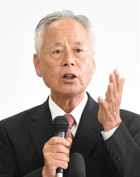 知事選への立候補を表明する畑中正好氏=和歌山市