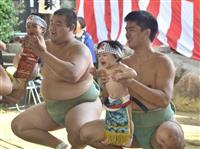 健やかな成長願う 西宮・越木岩神社で「泣き相撲」
