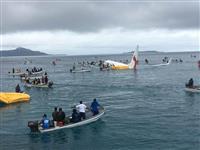 滑走路オーバーラン、海に旅客機突っ込む ミクロネシア