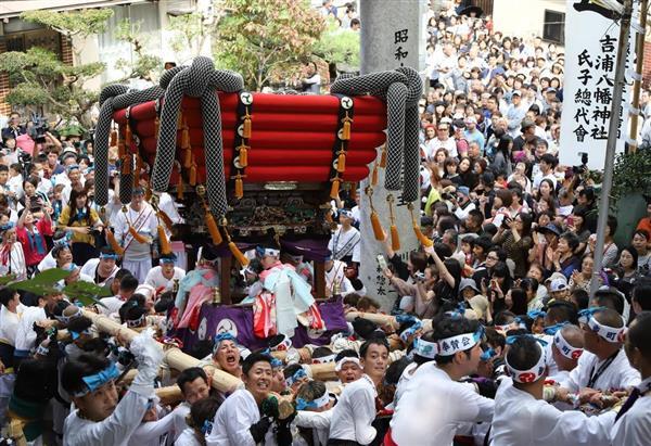 多くの人々が詰めかける中、男衆に担がれ吉浦八幡神社の石段を上下左右に練り歩くだんじり=7日、広島県呉市吉浦(恵守乾撮影)
