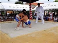 四角い土俵で児童222人が「取組」 岡山の勝央北小学校