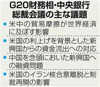 11日からG20財務相会合 貿易戦争の世界経済への影響検討 対応を協議