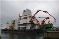 「海上のコンクリ工場」完成 関門港湾建設、新造は国内十数年ぶり 山口