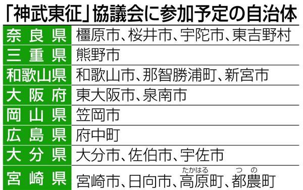 「神武東征」協議会に参加予定の自治体
