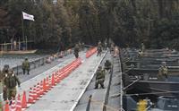 葛飾区で防災訓練 帰宅困難者対策、江戸川に浮橋架設