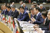 安倍首相、自由貿易維持を強調 ASEM首脳会議 対北制裁の継続も訴え
