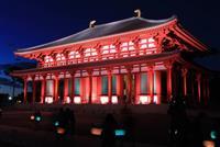 興福寺・中金堂 300年ぶり再建でライトアップ 奈良