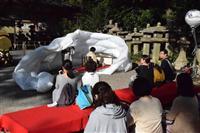茶文化PRする「空中茶会」 京都石清水八幡宮で開催