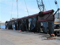 東京湾の巨大工作物、海洋土木会社所有か 千葉・船橋漁港に陸揚げ