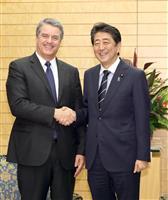 安倍晋三首相、WTO事務局長と面会 「日本は自由貿易の旗手」