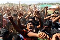 ロヒンギャ難民が帰還反対デモ