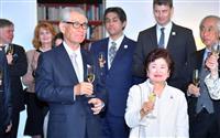 本庶さん「授賞式は和服で」 都内でノーベル賞祝賀会