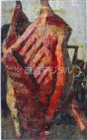 【クレパス画名作展(中)】質感生々しく 西岡義一「牛肉」