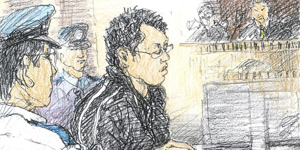 初公判に出廷した石橋和歩被告(イラスト・勝山展年)