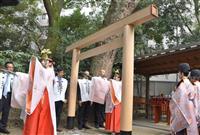 世界一のクリスマスツリーで鳥居製作 兵庫・生田神社に奉納