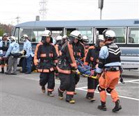 国体、五輪見据え、バス事故消防訓練 茨城・守谷市