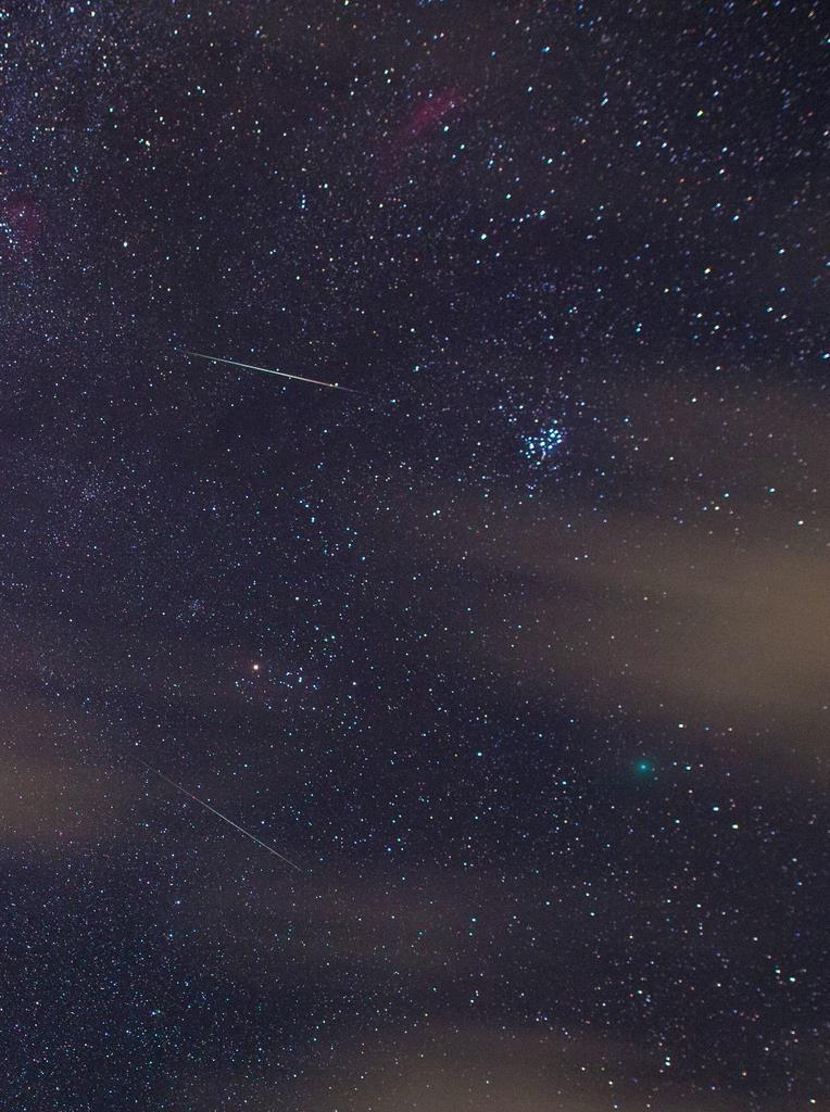 ふたご座流星群と彗星の競演
