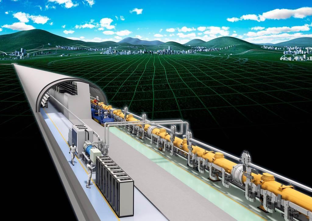 国際リニアコライダーの完成予想図(高エネルギー加速器研究機構提供)