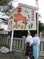 洲本・厳島神社に「亥」のジャンボ絵馬登場