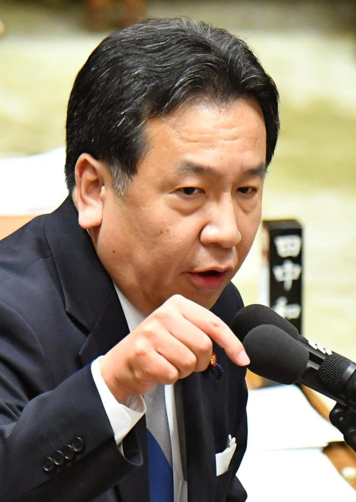 立憲民主党の枝野幸男代表(斎藤良雄撮影)