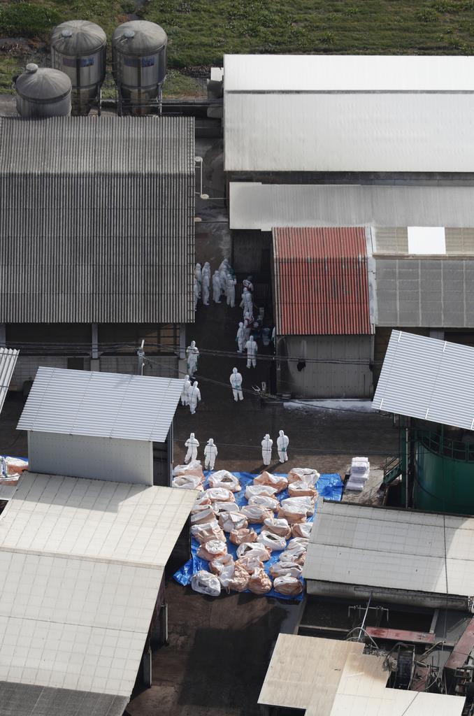 豚コレラが発生した養豚場で作業をする関係者=25日午後0時01分、岐阜県関市