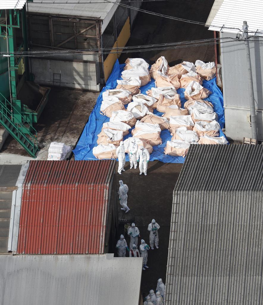 豚コレラが発生した養豚場付近で行われた防疫作業=11月25日午後0時00分、岐阜県関市(共同通信社ヘリから)