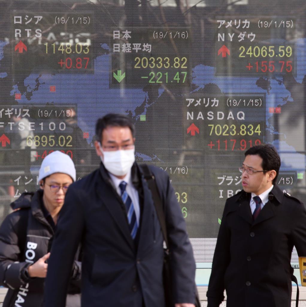 日経平均株価を表示する株価ボード=16日、東京・八重洲(荻窪佳撮影)