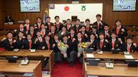 全国優勝の大阪桐蔭ラグビー部が大東市を表敬訪問