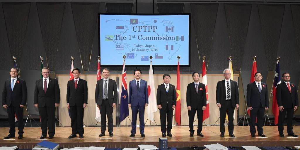 記念写真に納まる安倍首相(左から5人目)、茂木経済再生相(同6人目)とTPP参加各国閣僚ら=19日午後、東京都内(代表撮影)